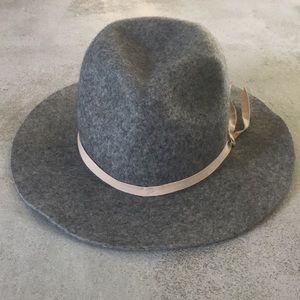 Grey brim hat